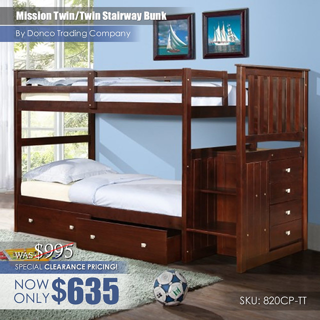Special Clearance_820CP Mission TT Staircase Bunk Bed