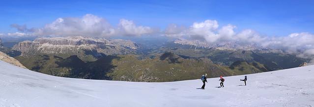 Having fun on top of glacier Marmolada