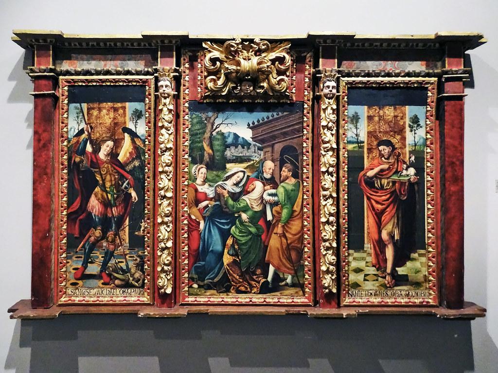 Pintura renacentista tríptico de la Visitacion del Convento de Franciscanos Olite Museo de Navarra Pamplona