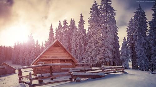 pines-1920x1080-4k-hd-wallpaper-snow-sunset-house-5281