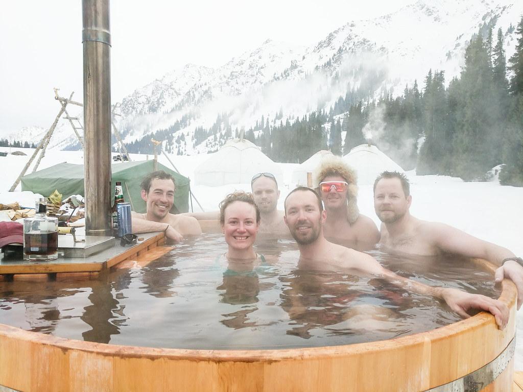Ak-Suu yurt lodge hot tub