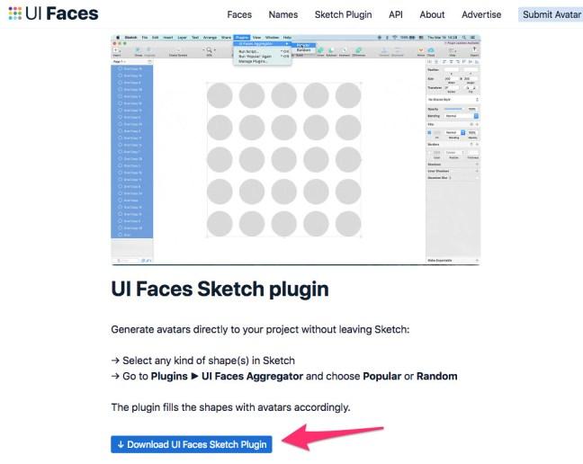 uifaces sketch plugin download