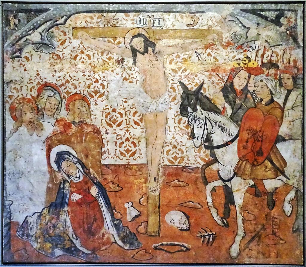 Pintura gotica mural El Calvario del 2 maestro de Gallipienzo del Iglesia Gallipienzo Museo de Navarra Pamplona