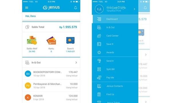 Tampilan dashboard dan menu di aplikasi Jenius | DarlaOct.com