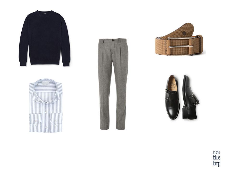 Pantalón de vestir, camisa azul de rayas, jersey y zapatos negros para un look smart-casual con cinturón anaga para hombre
