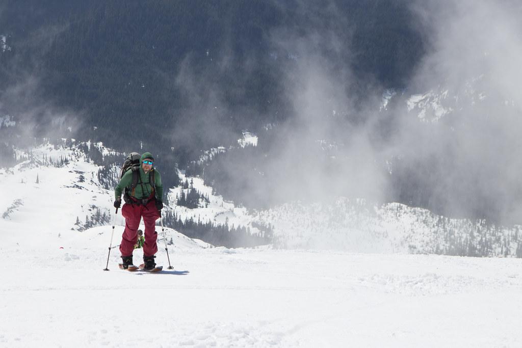 Splitboarder climbing Mount St Helens