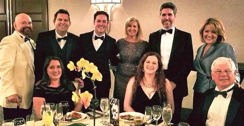 Opera Orlando's Wondrous Annual Gala Celebration -- April 20 at the Alfond Inn. From left -- Josh Garrick, ,Joshua Vickery, David Kiyak, Cheryl Wilmarth Boza, Vicki Landon, Chris Barton, R.K. Little Kelley, and Gene Columbus