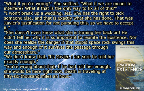 The speed of Death quote from Fractions of Existence #book by @JLenniDorner #UrbanFantasy #Novel #read #NaNoProMo