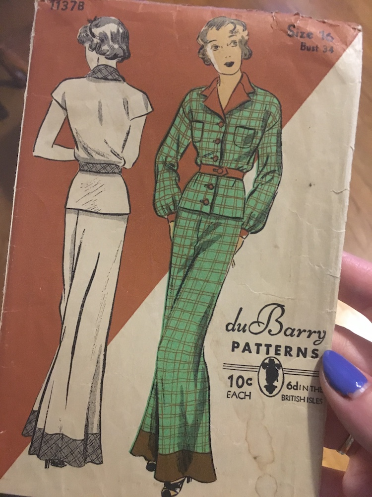 duBarry 1137B 1930s pajama sewing pattern