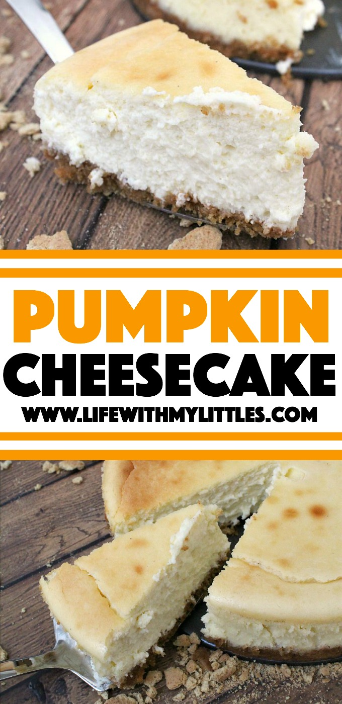 This pumpkin cheesecake recipe is so creamy and smooth and tastes like fall! It's so easy, so delicious, and one your family will want over and over!