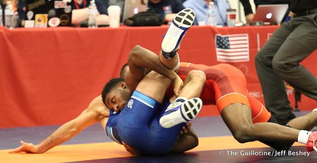 61kg: Nahshon Garrett (Sunkist Kids) vs Nico Megaludis (Nittany Lion WC). 180520AJF0035