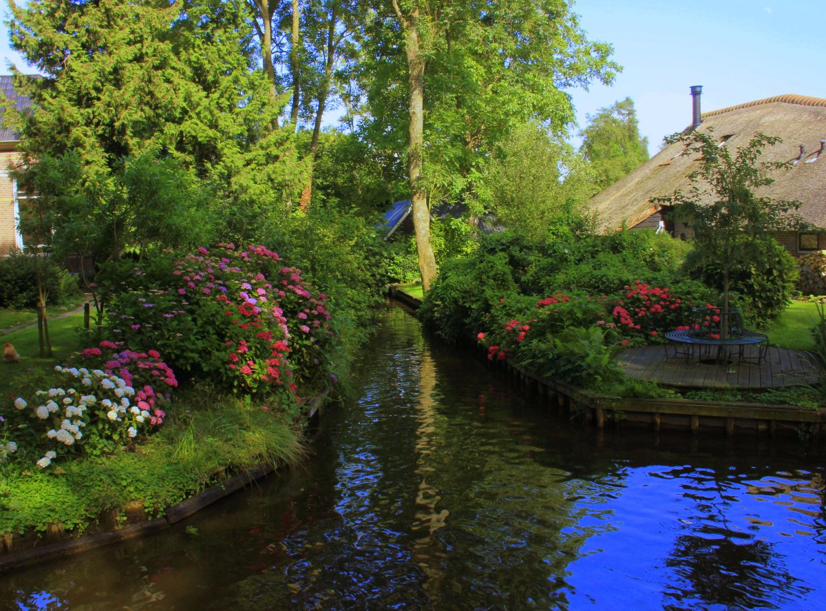 The canals of Giethoorn get choked with boats in summer