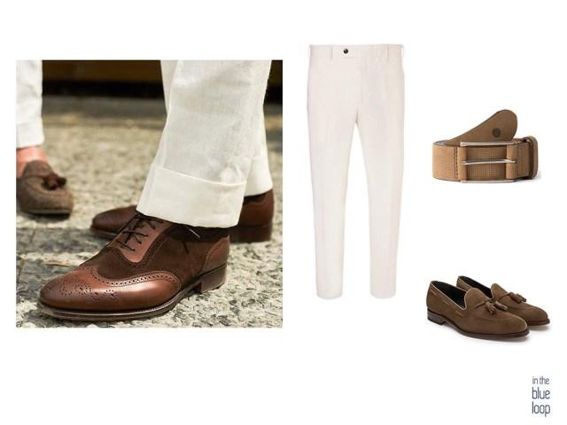 Pantalón de vestir masculino con zapatos marrones y cinturón para hombre