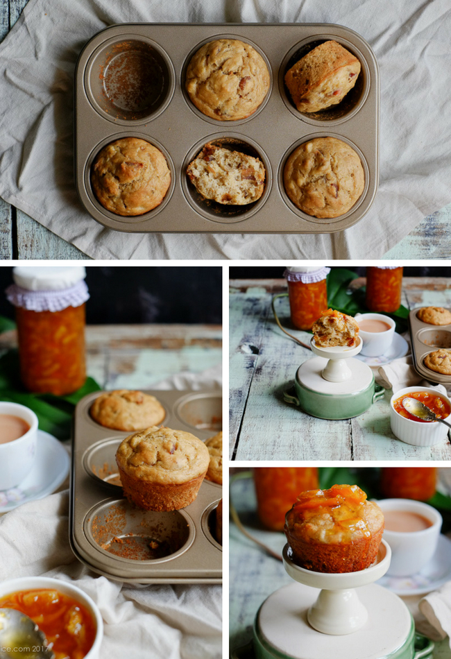 Delightful Breakfast Banana Date Muffins on notjustspice.com
