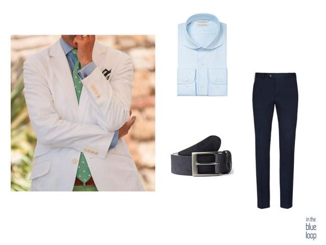 Look smart casual masculino con camisa azul, pantalón de vestir, blazer y cinturón para hombre