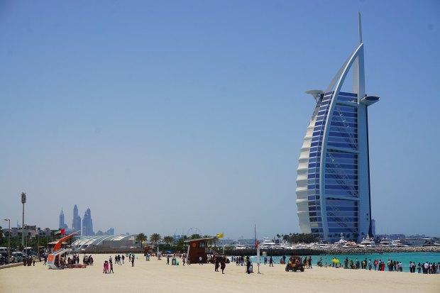 The world-famous Burj Al Arab hotel and Jumeirah beach