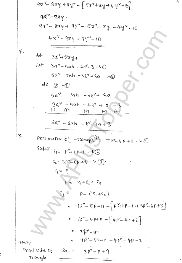 ML Aggarwal ICSE Solutions for Class 8 Maths Chapter 10 Algebraic