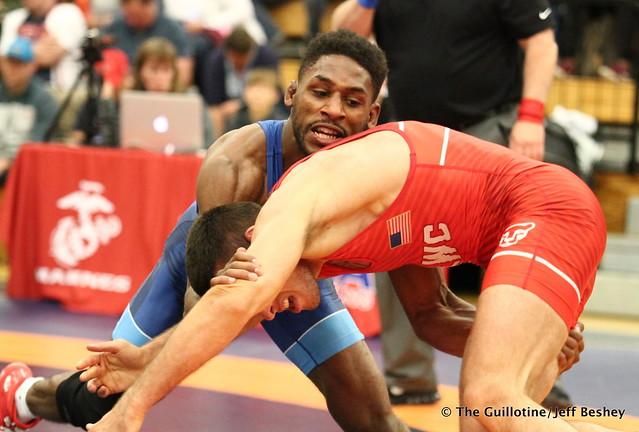61kg: Nahshon Garrett (Sunkist Kids) vs Nico Megaludis (Nittany Lion WC). 180520AJF0373