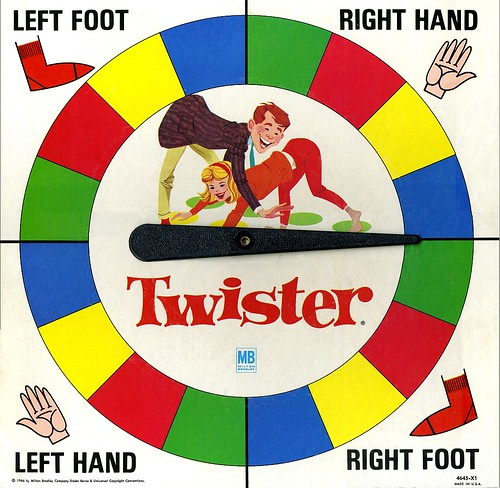 Original Milton Bradley Twister Board Game Spinner - 1966