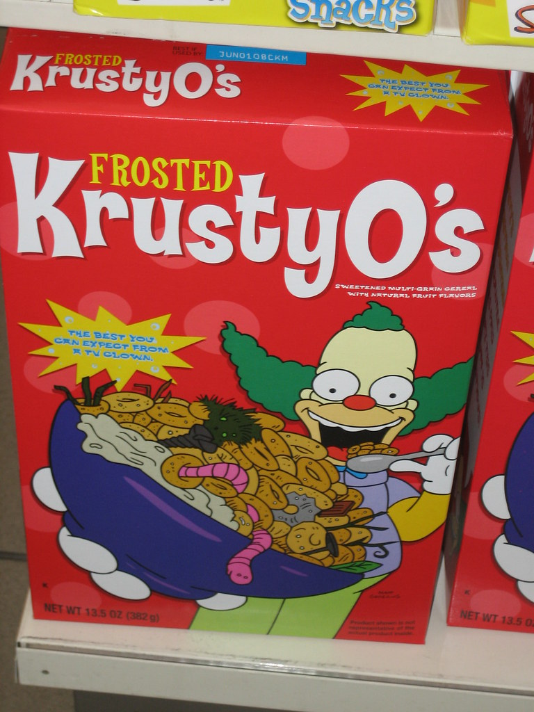tasty frosted krustyos cereal at kwik e mart