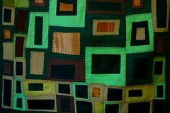 hand-stitched tapestry in 20 shades of greens in 4 fibers:satin,linen,wool,cotton