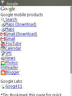 Google mobile products page