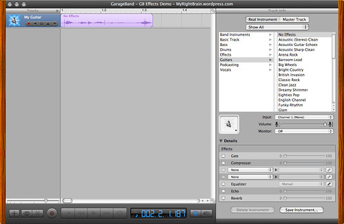 iLife GarageBand '06 - creating a stereo effect (A1-1)