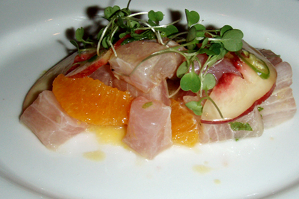 Raw Amberjack, Nectarines, Orange, Mint and Serrano Chili, MyLastBite.com