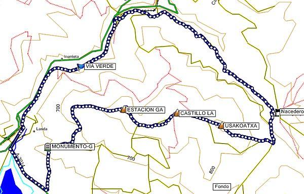 Mapa de la ruta al Nacedero del Deba por Usakoatxa