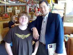 David Pogue, tech writer at New York Times hanging out at Bucks with Patrick