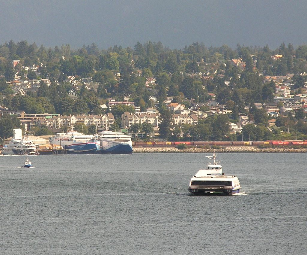 Fast ferries and working ferry SeaBus