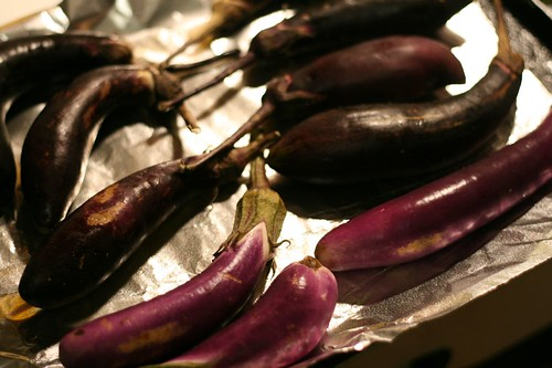 Eggplants ready for roasting