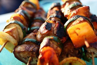 hoisin charred chicken skewers