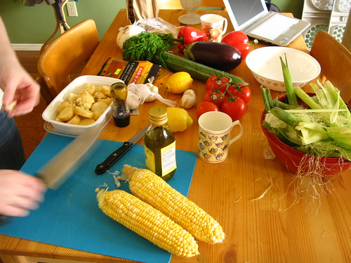 Prepping food for the barbecue