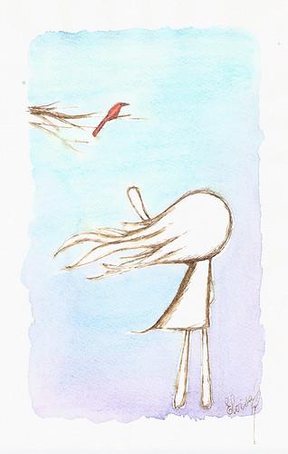 Uma menina e um pássaro