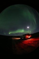Northern lights on the road