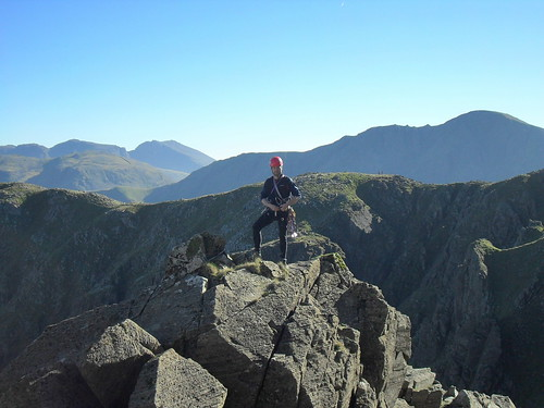 Atop Mitre Buttress with the Scafells and Pillar beyond