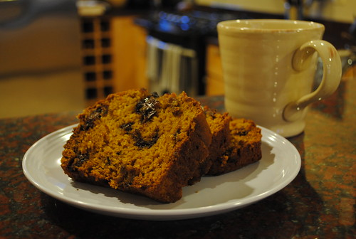Chocolate Chip Pumpkin Bread with Coffee