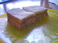 Peanut butter and jam sandwiches on bread with pink jelly, sugar sauce that tastes like candy, creamy brown sauce, squishy homemade pastry and protein