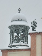 Baroque church under snow