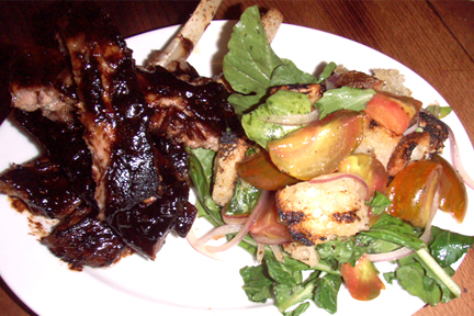 Pork Ribs, Balsamic, Heirloom Tomato, Rocket and Bread Salad, MyLastBite.com