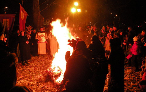 Parishioners Gather Collectively Burn the Badnjaks
