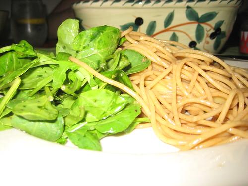 Noodles with a little Arugula Salad.