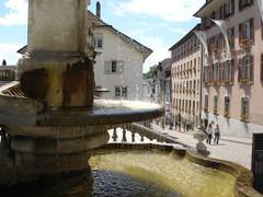 Solothurn Brunnen an St. Ursernkathedrale und Kronengasse
