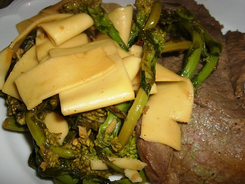 Slightly Sour Veal with Pappardelle con Broccoletti