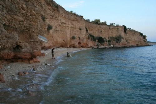 Enjoying the empty hidden beach in Puglia