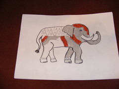 Poppy's elephant drawing using oil pastels