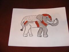 Poppy's elephant drawing using oil pastels