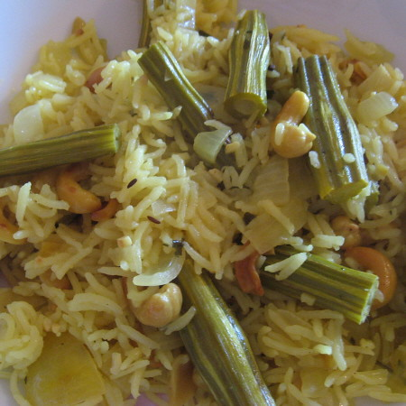 Drumstic and cashew pilau