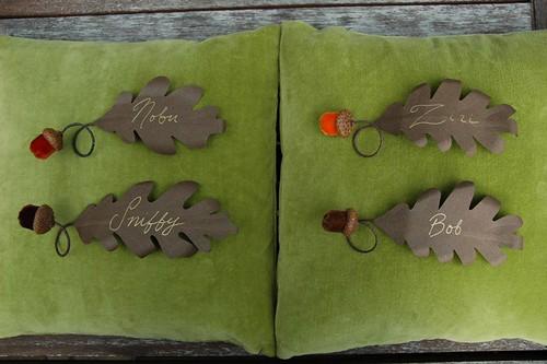 Velvet acorn favors as placecards